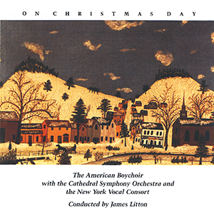 old painting of a colonial town during winter
